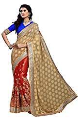 coolwomen women's chiffon embroidered free size fancy saree-cw_NMD2A222_red_free size