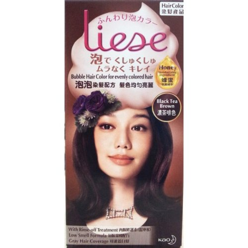 Kao Liese Bubble Hair Color Dye Easy Use & More Evenly Colored New Formula !! (Black Tea Brown)