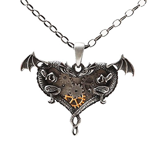 STEAMPUNK GEARWORK DUAL DRAGONS HEART NECKLACE ALLOY PENDANT FASHION JEWELRY