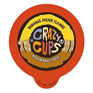 Crazy Cups Coffee, Bananas Foster Flambe, Single Serve cups for the K Cup Keurig, 22 Count