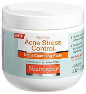 Neutrogena Acne Stress Control Night Cleansing Pads, 60 Count (Pack of 3)