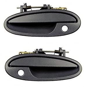 1997-2005 Buick Park Avenue Ave 1997-1999 Buick Riviera & Oldsmobile Olds Aurora Front Black Outside Outer Exterior Door Handle Pair Set Left Driver AND Right Passenger Side (1997 97 1998 98 1999 99 2000 00 2001 01 2002 02 2003 03 2004 04 2005 05)