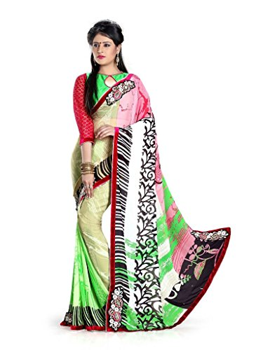 Yashoda Textile Multi Color Chiffon Printed And Border Work Sarees With Un-Stitched Blouse Piece (Y.S_689_Multi)