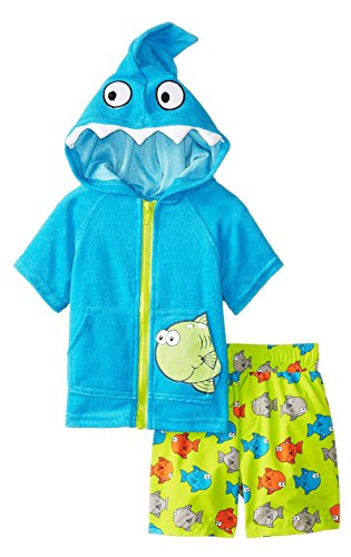 Wippette Baby Boys' Fishy Coverup Set, Turquoise, 12 Months
