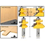 Yonico 15227 Matched Tongue and Groove V-Notch Router Bit Set 1/2-Inch Shank