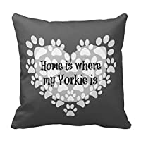 "18"" x 18"" Home is Where My Yorkie is Quote Decorative Throw Pillow Case Cushion Cover by jiuden"