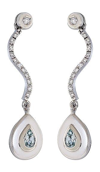 585 Gold Earrings with Movable Hobra Gold-Topaz WEISS Blau Langer - Topaz Zirconia Stud Earring