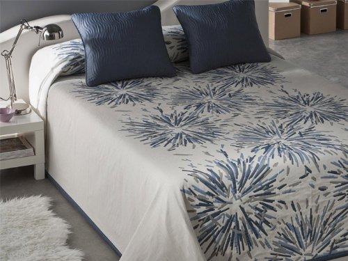 Colcha piqué reversible Soho - cama 135 cm - Azul