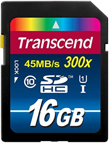 Transcend TS16GSDU1 Scheda di Memoria SDHC, 16GB, Classe 10 UHS-I 400x (Premium), Velocità Trasferimento 60MB/sec (max)