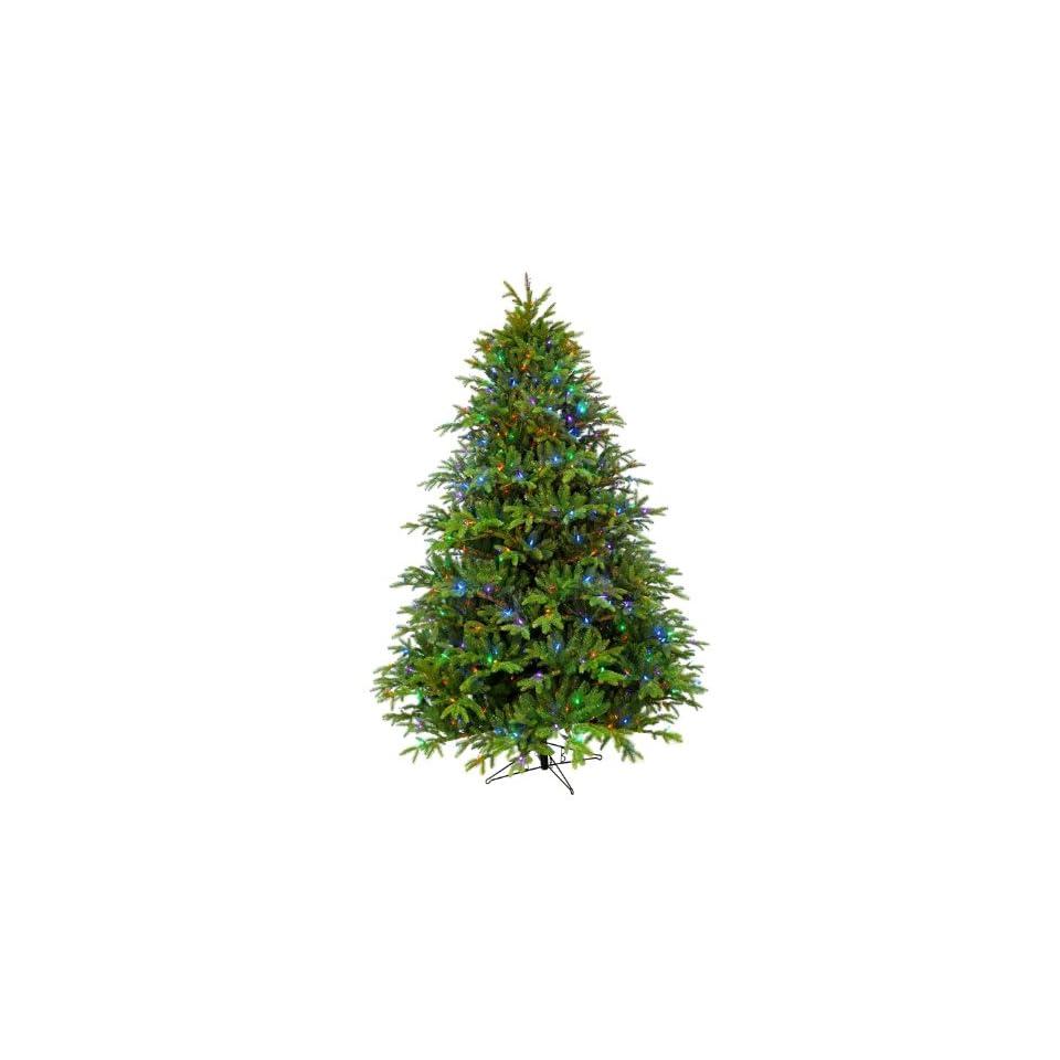 Barcana 7 1/2 Foot Alaskan Deluxe Fir Slim Christmas Tree with 600 M4 LED Lights, Multi