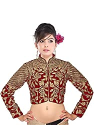 Drapme High Neck Red Velvet Embroidery Jacket Semi Stitched Blouse