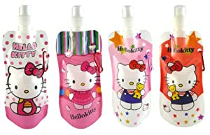 Hello Kitty Quadruple Foldable Water Bottles BPA Free Reusable Special Bottle Combo Set of 4