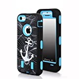Meaci® Apple Iphone 5c Hard Soft Case Anchor Print Combo Hybrid Defender High Impact Body Armorbox Pc&silicone Material 1x Diamond Anti-dust Plug Stopper-random Color (Anchor&light Blue)
