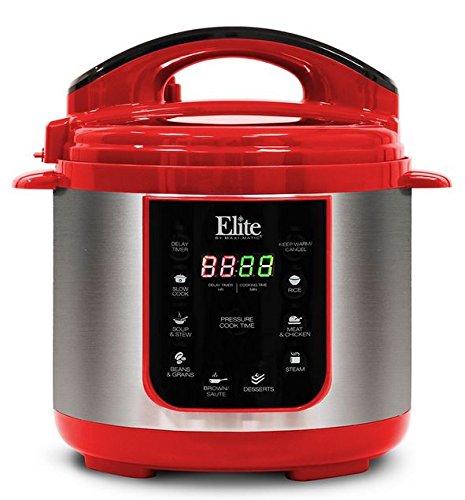 Elite Platinum EPC-414R Maxi-Matic 4 Quart Electric Pressure Cooker, Red (Stainless Steel) (Elite Cooker compare prices)