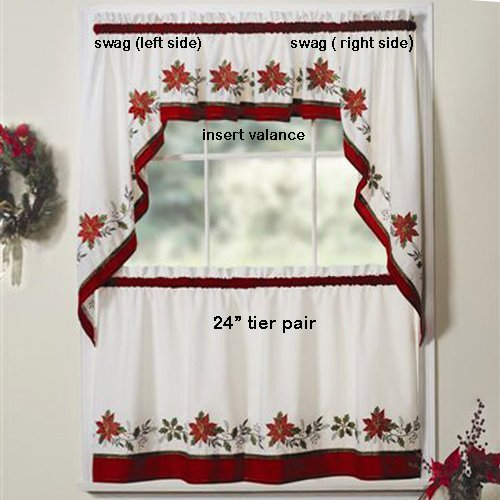 Poinsettia Window Curtains Christmas Wikii