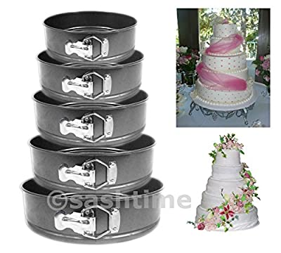 Set Of 5 Round Non Stick Spring Form Cake Tin / Tray Set For Baking. Springform