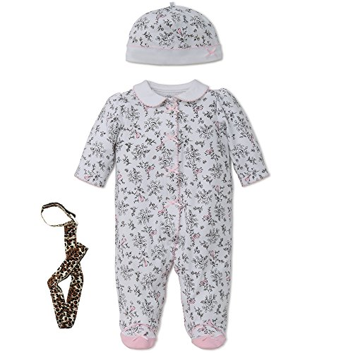 Little Me Girl Footie Footed Sleeper Sleep N Play Hat and Tether Black Toile 9M
