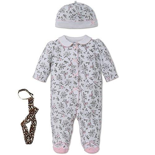 Little Me Girl Footie Footed Sleeper Sleep N Play Hat and Tether Black Toile 9M
