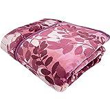 昭和西川 毛布 2枚合わせ わた入り 衿付き フラワー ピンク シングル