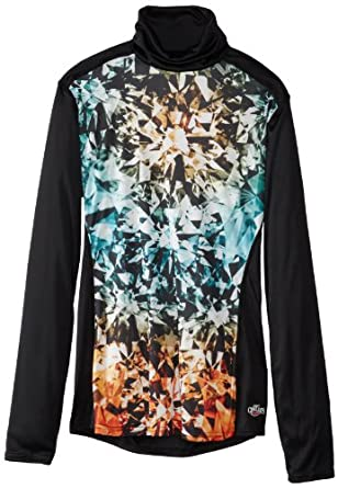 Hot Chillys Ladies Peach Print Roll T-Neck Base Layer Top by Hot Chillys