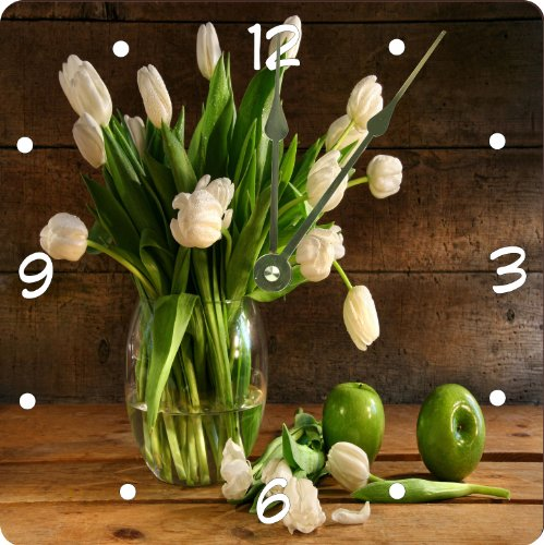 "Rikki Knighttm White Tulips In Glass Vase On Rustic Wood With Green Apples Design 8"" Art Wall Clock front-644460"