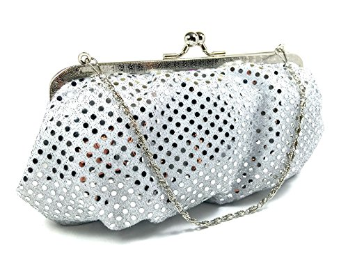 HANDBAG - Purse Metallic White Dot by WiseGloves, clutch purse evening bag