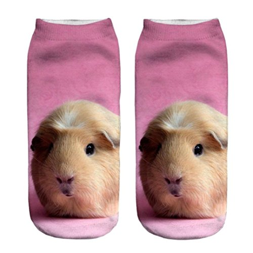 3D Printed Unisex Cute Low Cut Ankle Socks Harajuku Style Fat Guinea Pig Free Size