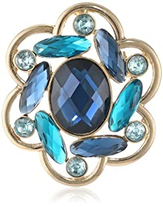 """Napier """"Giftable"""" Gold-Tone Multi-Blue Cluster Brooch"""