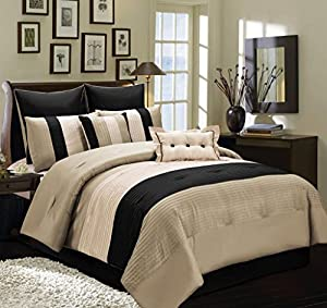 8 PC Beige, Taupe and Black Faux Silk Full Comforter Bedding Set