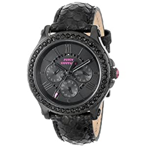 Juicy Couture Women's 1901064 Pedigree Black Metallic Leather Strap Watch