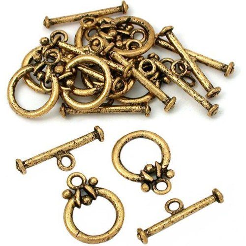 Round Toggle Clasp Antique Gold Plated 18Mm Approx 10