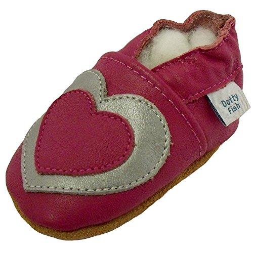 Bimbo morbido pelle scarpe scamosciato - Rosa ed Argento - design Cuore - Dotty Fish - ragazza - 0-6 Mesi a 2-3 Anni