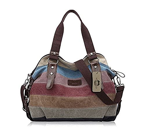 02. KISS GOLD(TM) Women's Canvas Multi-Color Shopper Tote Shoulder Bag