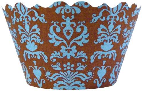 Bella Cupcake Couture 100-Pack Lu Lu Damask Cupcake Wrappers, Mini, Blue/Brown front-156887