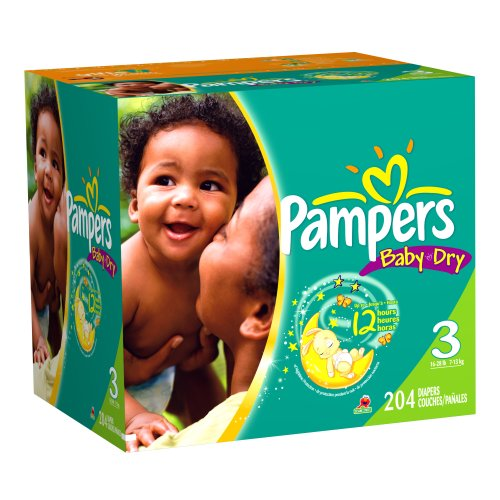 Pampers Baby Dry Diapers, Size 3 (16-28 Lbs), Economy Plus Pack, 204 Diapers (Packaging May Vary)