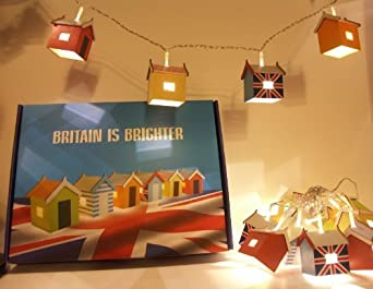 Mains Powered Beach Hut Fairy Lights (240v with transformer) - Hand Made - Hand Painted - Great Britain