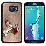Luxlady Premium Samsung Galaxy S6 Edge Aluminum Backplate Bumper Snap Case IMAGE ID: 27122042 Argentine tango shoes with a rose on wooden floor text space