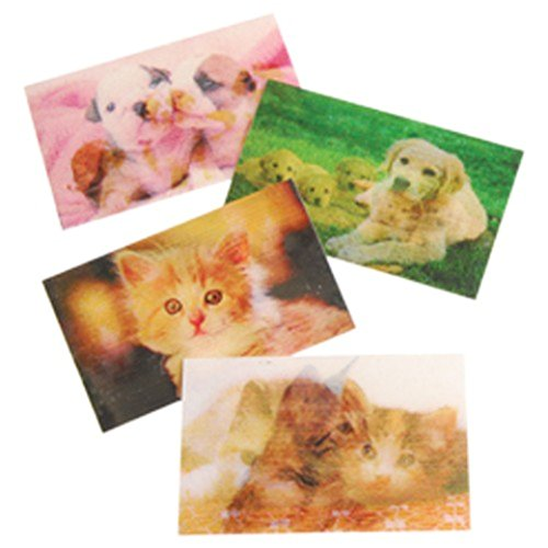 Lot Of 72 Assorted Dog & Cat Theme Hologram Changing Stickers