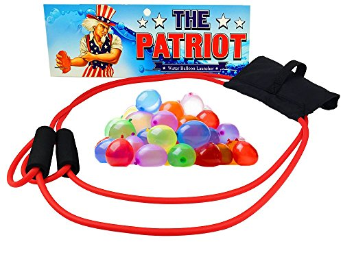 The Patriot Water Balloon Launcher Game - Backyard Slingshot Toy - Includes Biodegradable Balloons