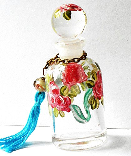 Mini Perfume Bottle With Round Stopper Cap and Hand Painted Roses