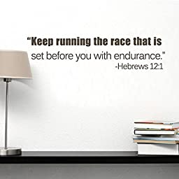 MairGwall Inspiring Saying-¡®Keep Runing The Race That Is Set Before You With Endurance ¡¯-Motivative Quote Teen Room Decal School Wall Decor Nursery Bedroom St