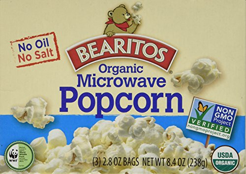Bearitos Organic Microwave Popcorn, No Salt No Oil, (Pack of 4 boxes) Each box contains 3- 2.8 ounce bags for microwave popping