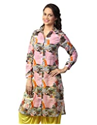 Love From India - Pink Newspaper Print Kurti_100225_PINK_$P