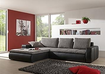 """Moderne Sofa-Garnitur """"Belessa"""" mit Bettfunktion Hochwertige & robuste 3-Sitzer Wohnlandschaft in grau / schwarz – auch als Schlafsofa verwendbar. Farbwunsche der Couch auf Anfrage realisierbar."""