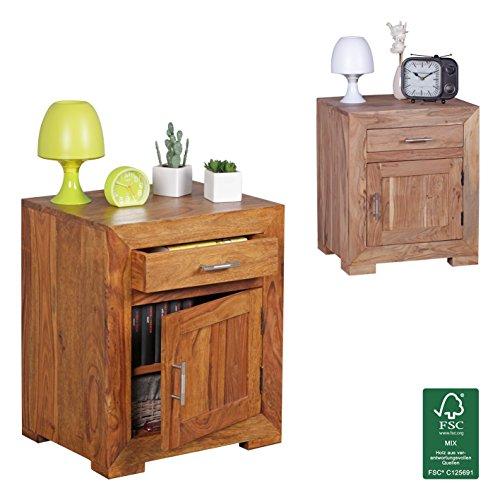 FineBuy-Nachttisch-Massivholz-Sheesham-Design-Nachtkommode-60cm-Hoch-50cm-Breit-Schublade-Tr-Nachtschrank-Natur-Holz-Massiv-dunkel-braun-Nachtkonsole-Landhaus-Stil-Nachtkstchen-fr-Boxspring-Bett