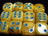 Chessex Manufacturing 27632 16 mm Vortex Yellow With Blue Numbering D6 Dice Set Of 12 by Chessex Manufacturing