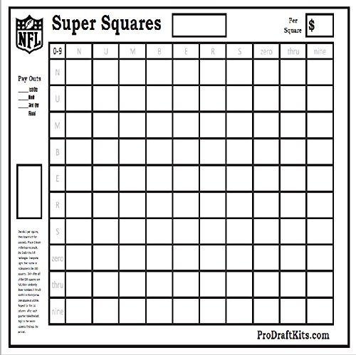 Super Bowl Squares Fantasy Football Weekly Party Game Tailgating NFL Office Pool (Office Football compare prices)