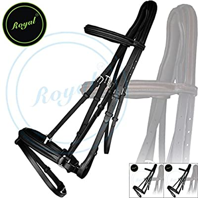 Royal Anti Pressure Cut Head Piece Dressage Bridle & PP Rubber Grip Reins./ Vegetable Tanned Leather./ Stainless Steel Buckles./ Triple Joy Pack of 3 bridles.