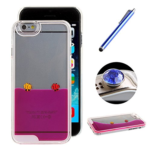 Etche iPhone 6/6S 4.7 Zoll Liquid Fließen Flüssig Bling Hülle,iPhone 6/6S 4.7 Zoll Kristall Klar Transparent Hart Tasche,kreativ komisch niedlich 3D fließend schwimmende Schwimmen Fisch Wasser Handytasche Protective Rückseite Hülle Schale Etui für iPhone 6/6S 4.7 Zoll mit Blau Eingabestift Bling glitzer Diamant Staubstecker(hot pink)