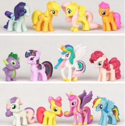 PONY 12 Pcs/set cute little pvc horse Sets Toys For Children Action Figure
